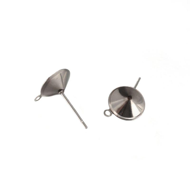 Puzeta z chirurgické oceli 304 pro kabošon 8 mm a očkem, 2 ks