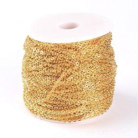 Řetízek velmi jemný 3x2 mm, 1 m, zlatá barva