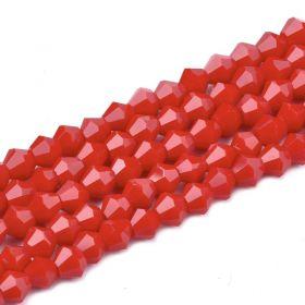 Skleněné sluníčko 4x4 mm, 105 ks, imitace jadeitu - červené
