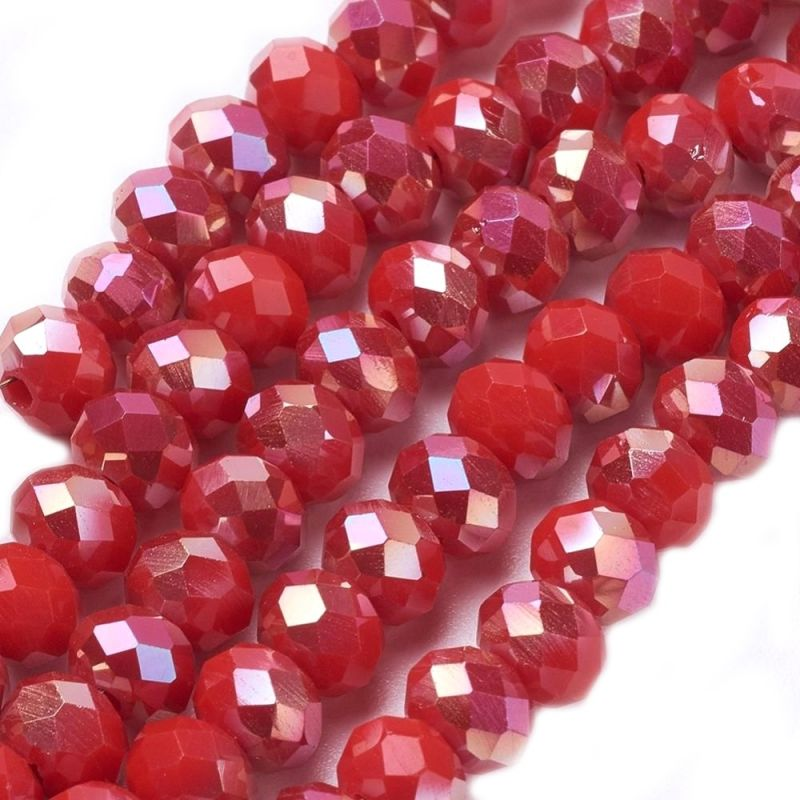 Slavík 6x4 mm, 93 ks, plnobarevná červená s AB pokovem