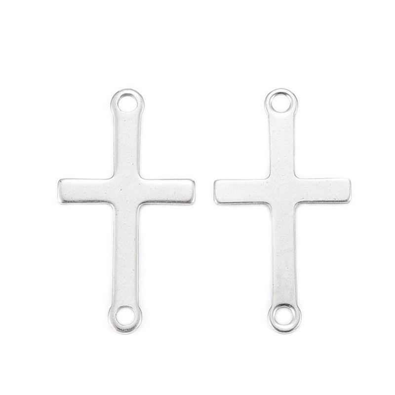 Spojovací díl z chirurgické oceli 304 křížek, 23x12,5x0,8 mm, 10 ks