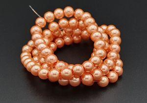 Voskované perle 8 mm, 106 ks, korálová
