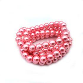 Voskované perle 8 mm, 106 ks, středně růžová