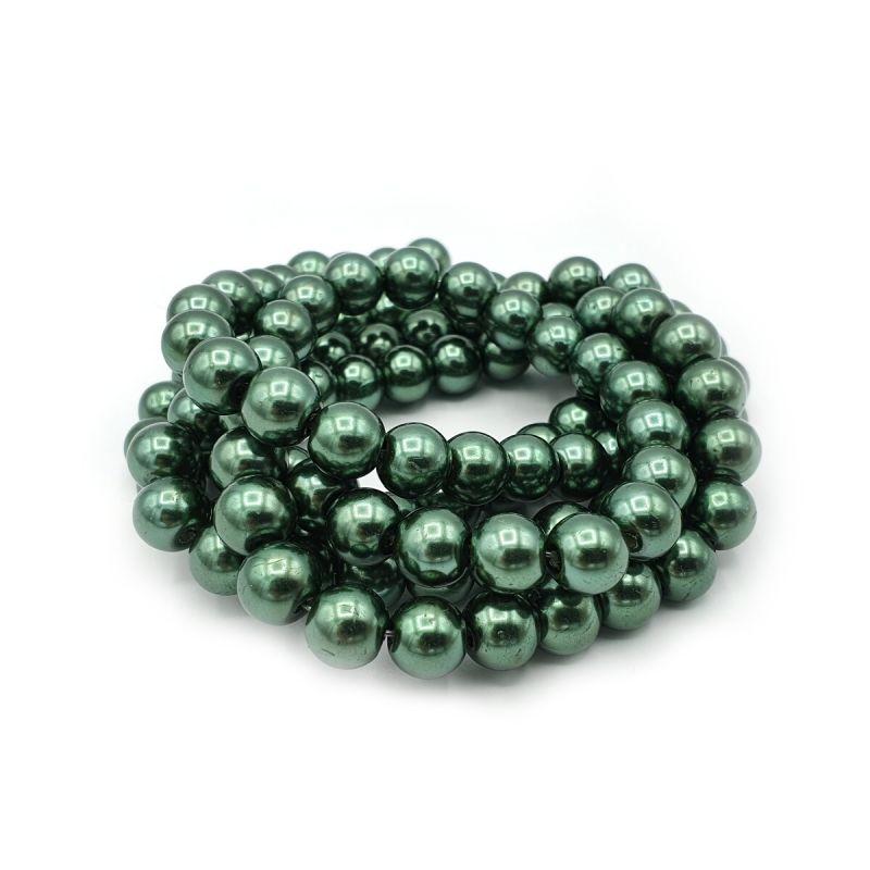 Voskované perle 8 mm, 106 ks, středně zelená