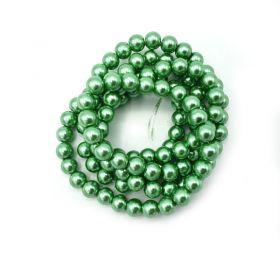 Voskované perle 8 mm, 106 ks, světle zelená