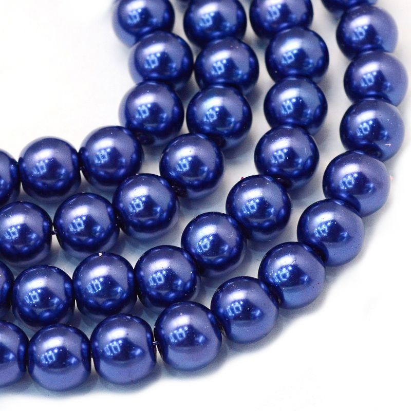 Voskované perle 8 mm, 106 ks, tmavě královská modrá