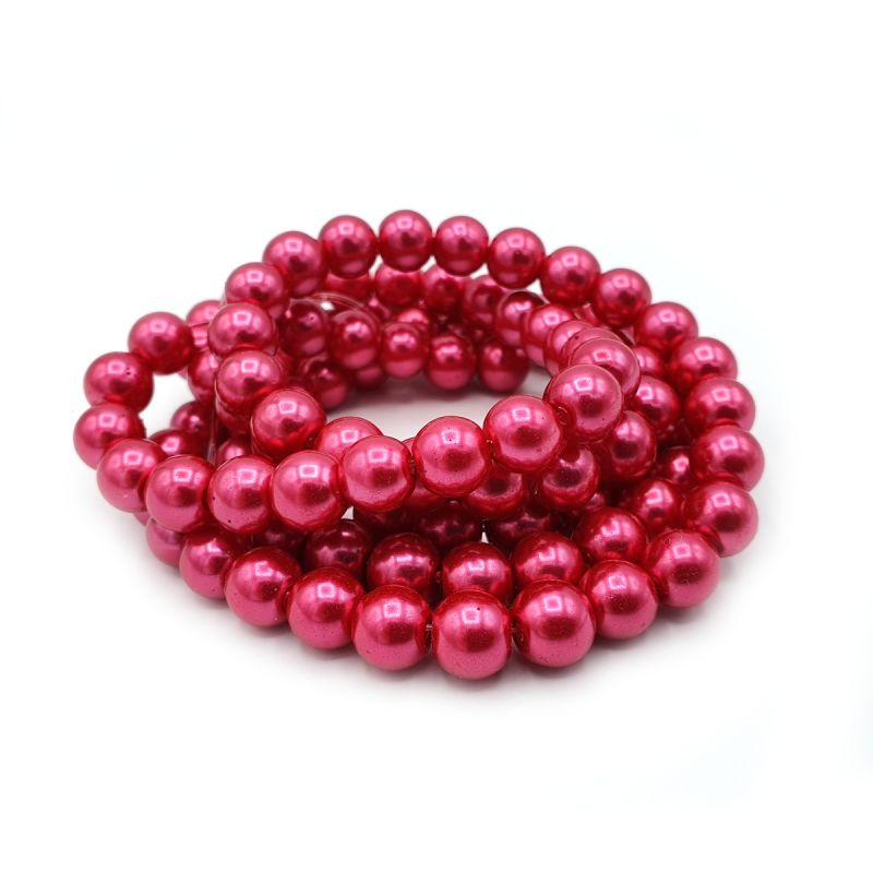 Voskované perle 8 mm, 106 ks, tmavě růžovočervená