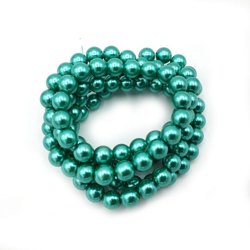 Voskované perle 8 mm, 106 ks, tyrkysově zelená