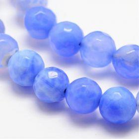 Achát natural fazetovaný 8 mm, 47 ks, třída A, modrý