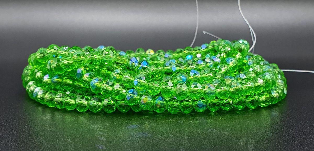 Slavík 4x3 mm, 141 ks, zelená s duhovým pokovem