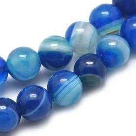 Achát natural 6 mm, 63 ks, modrý