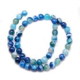 Achát natural 6 mm, 63 ks, třída A, modrý/bílý