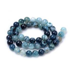 Achát natural 8 mm, 47 ks, modrý/tmavě modrý
