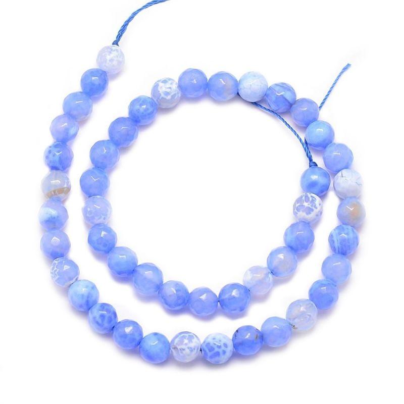 Achát natural fazetovaný 6 mm, 61 ks, třída A, modrý