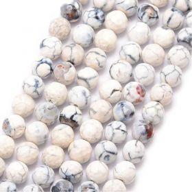 Achát natural fazetovaný 8 mm, třída A, 48 ks, bílá/šedá/hnědá