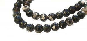 Achát natural fazetovaný 8 mm, třída A, 48 ks, bílá/šedá/černá