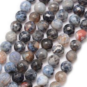 Achát natural fazetovaný 8 mm, třída A, 48 ks, bílá/šedá/černá/hnědá