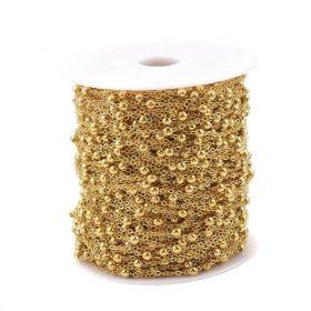 Řetízek s kuličkami 4 mm, 1 metr, zlatá barva