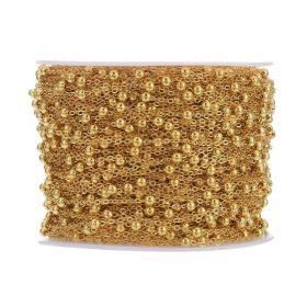 Řetízek s kuličkami 3,5 mm, 1 metr, zlatá barva