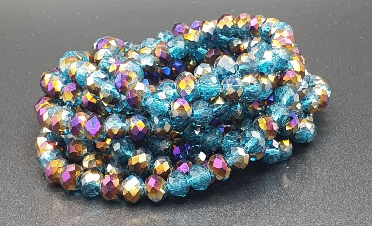 Slavík 6x4 mm, 86 ks, modrá s zlatofialovým pokovem