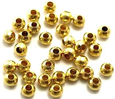 Korálek kovový 3 mm, 100 ks, zlatý
