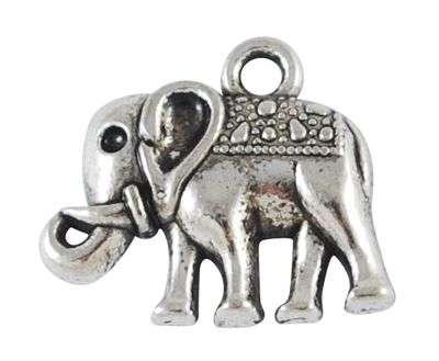 Přívěsek ve tvaru slona ve starostříbrné barvě.