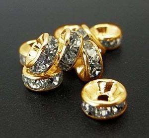 Šatonová rondelka 8x3 mm, třída B, 50 ks, zlatá/čirá