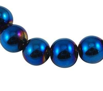 Skleněné korálky 8 mm,44 ks,modrá barva