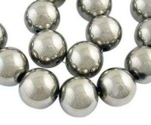 Skleněné korálky 8 mm, 42 ks, platinové