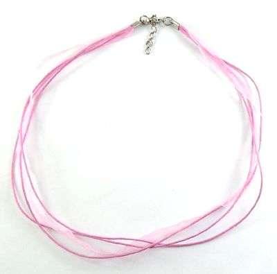 Šňůrka bavlněná s karabinkou a stuhou délka 45cm víceřadá - růžová barva.