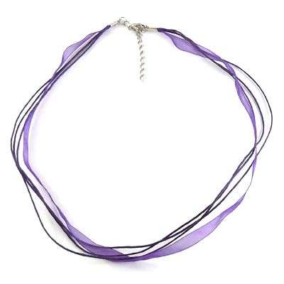 Šňůrka bavlněná s karabinkou a stuhou délka 45cm víceřadá - fialová barva.