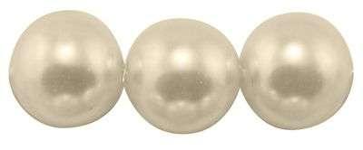 Voskované perle 6 mm , 140 ks - krémová