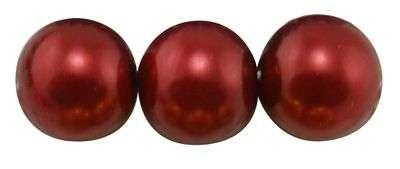 Voskované perle 8 mm, 110 ks, tmavě červená