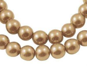 Voskované perle 8 mm ,  110 ks - zlatá