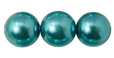 Voskované perle 6 mm , 140 ks - modrozelená