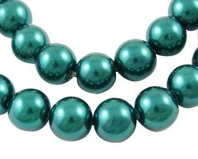 Voskované perle 8 mm , 110 ks - modrozelená