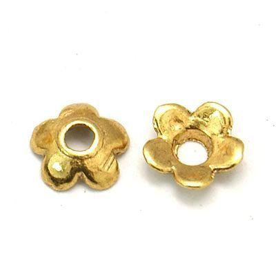 Kaplík hladký 6,5 mm, 50 ks, zlatá antik