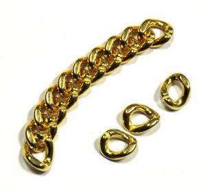 Řetězový článek 19x15x3 mm, 10 ks, zlatá barva