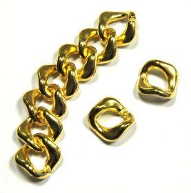 Řetězový článek 24x24x4 mm, 10 ks, zlatá barva