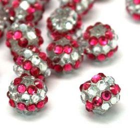 Šatonová kulička 12 mm - růžovobílá