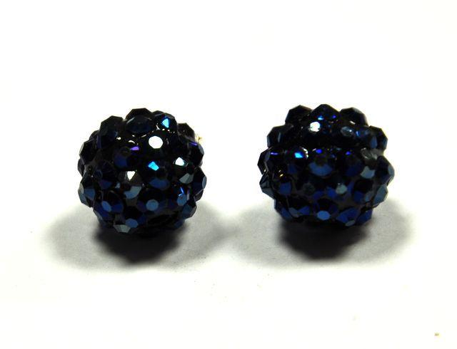 Šatonová kulička 14 mm - modročerná