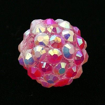 Šatonová kulička 14 mm - tmavě růžová
