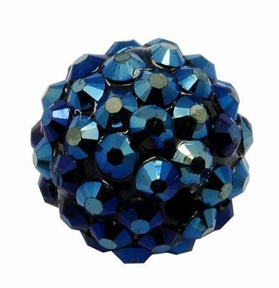 Šatonová kulička 16 mm - modročerná