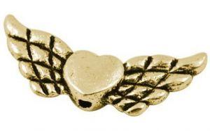 Andělská křídla se srdíčkem 22x9 mm, 50 ks, antik zlatá