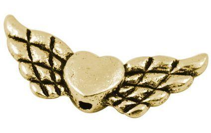 Andělská křídla se srdíčkem 22x9 mm, antik zlatá