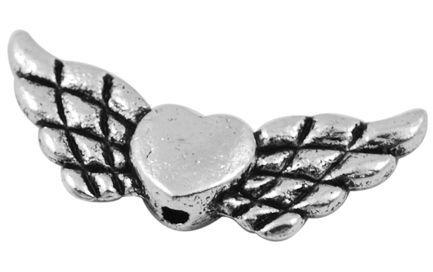 Andělská křídla se srdíčkem 22x9 mm, 50 ks, starostříbro