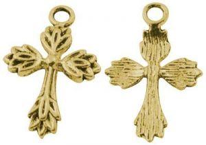 Křížek 26 mm, antik zlatá