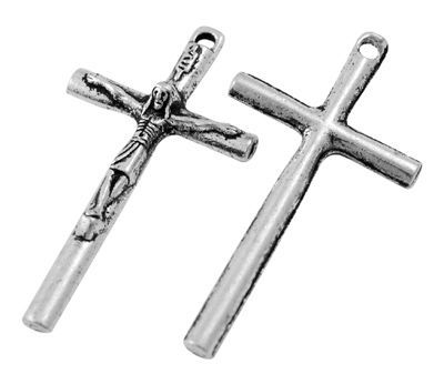 Křížek 36x19 mm, starostříbrná