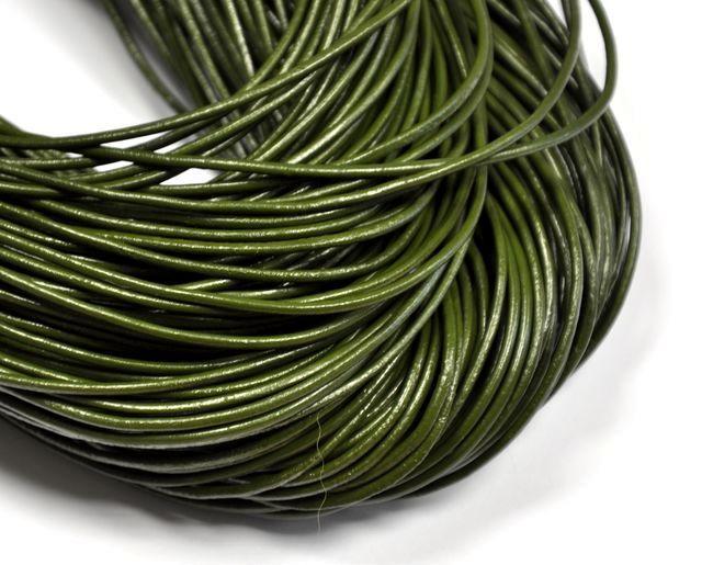 Kůže kulatá 2 mm ,1m, olivově zelená