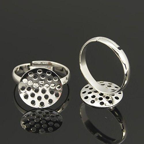 Prsten se sítkem 14 mm, stříbrná barva
